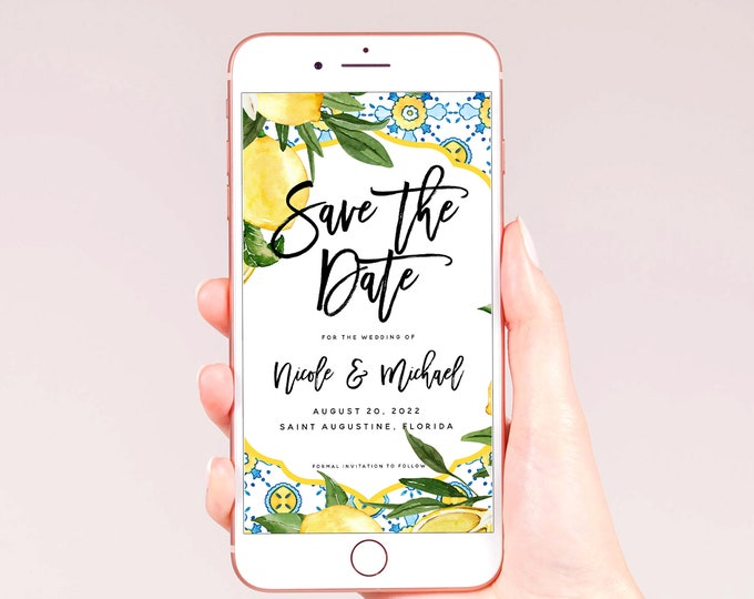 Electronic Save the Date Template, Rustic Lemon Blue Wedding, DIY Digital Save the Date, Editable Template, Instant Download, Templett, L1