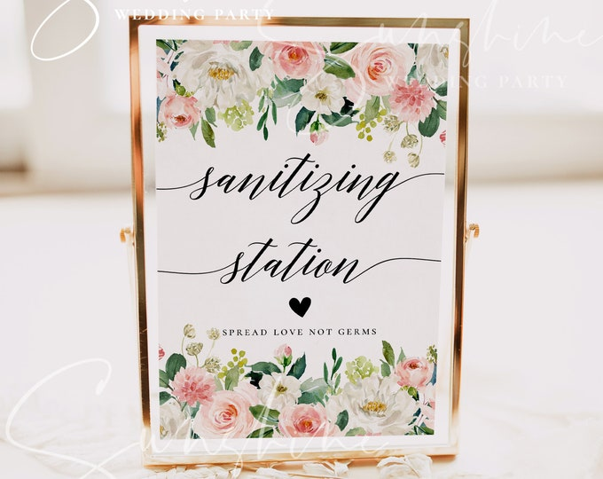Marsala Sanitizing Station Sign Template, Floral Wedding COVID Sign, Hand Sanitizer Station Sign, Printable Signs, Instant Download, F5