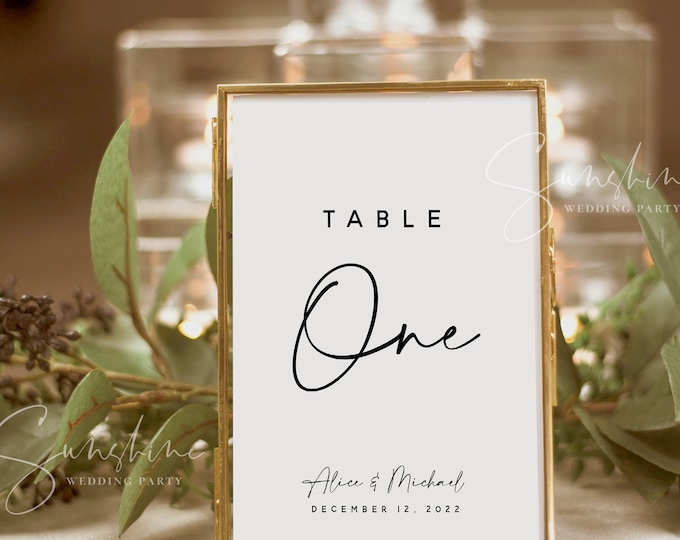 Wedding Table Number Template, Simple Table Numbers, Modern Minimalist Table Numbers Printable, Clean Table Number Cards Instant Templett M3