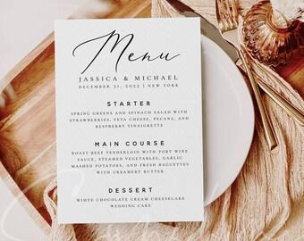 Modern Wedding Menu Template Printable Menu Template Rustic INSTANT DOWNLOAD Minimalist Dinner Menu Card Template Editable DIY Templett R3
