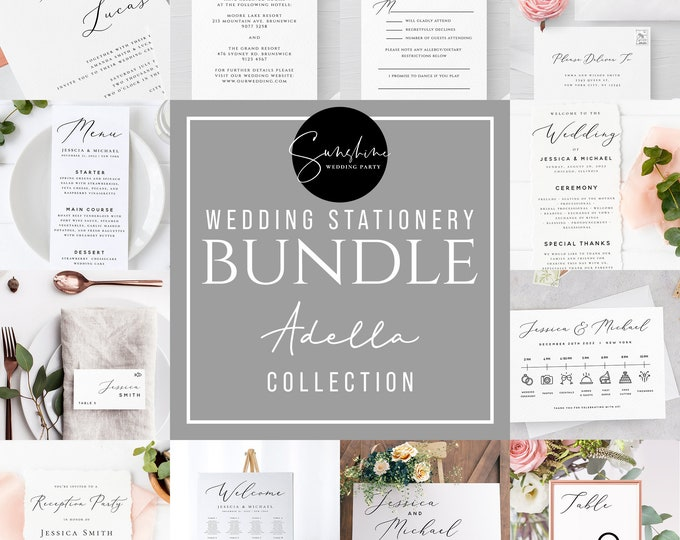 Wedding Bundle Templates, Modern Minimalist Wedding Stationery Template Bundle, DIY Printable, Editable Text, Templett, Instant Download, R3