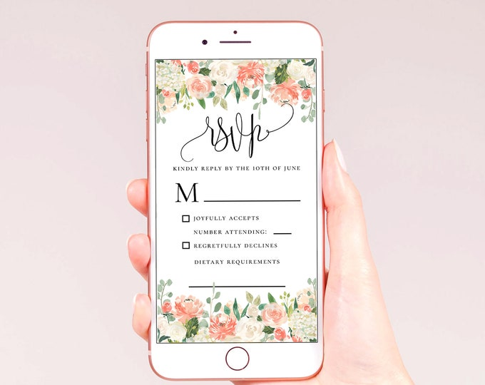 Electronic RSVP Template, Peach Floral Orange White Wedding, E-RSVP Template, Editable Wedding RSVP Template, Instant Download, Templett, F1