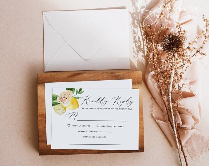 Lemon Wedding RSVP Template, Printable RSVP Card, Wedding Kindly Respond Card Template, Editable RSVP Card, Instant Download, Templett, L1