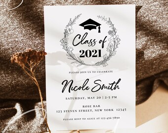 Graduation Party Invitation Template, Modern Graduation Party Invite, Minimalist Graduation Announcement Card, Graduation Party Invite, GRA