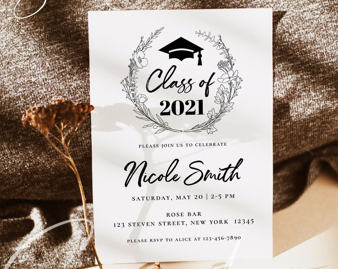 Graduation Invitation Template, Graduation Party Invite, Minimalist Graduation Announcement Card, Modern Graduation Party Invite, GRA