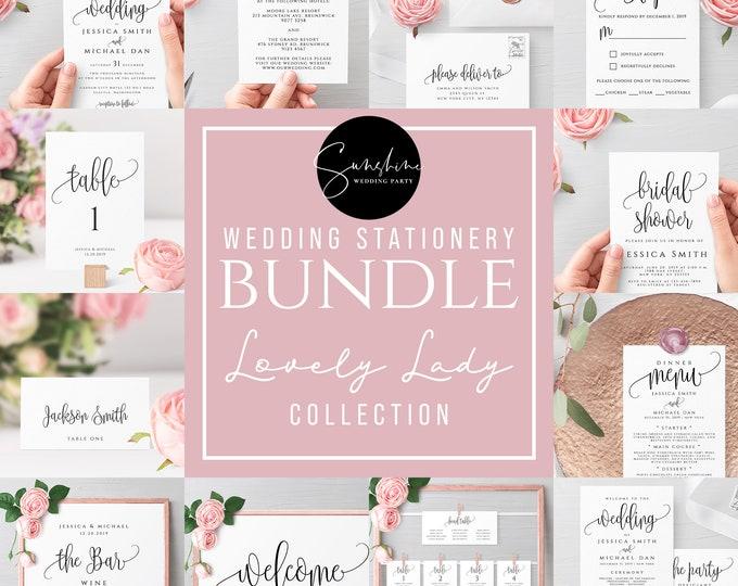 Wedding Bundle Templates, Templett Instant Download, Wedding Invitation Suite Template Bundle, Printable Editable Template Modern Rustic, R1