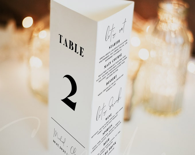 Modern Wedding Trifold Table Number Template, Trifold Table Menu Template, Triangle Table Stand Wedding Program, Trifold Table Thank You, M4