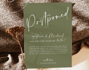Terracotta Wedding Postponed Card Template, Printable Wedding Postponed Cards, Cactus Green, Modern Minimal, Instant Download, Templett, T1
