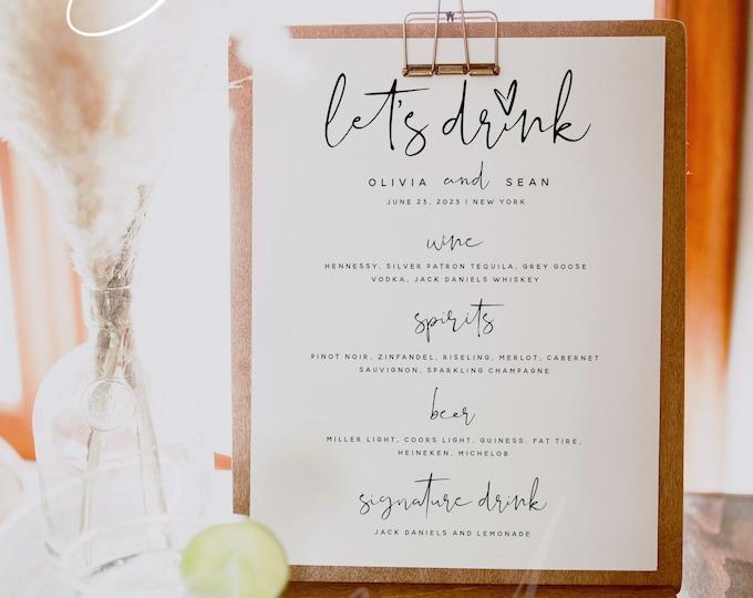 Let's Drink Menu Template, The Bar Menu, Minimalist Wedding Menu, DIY Printable Menu, Instant Download, Editable Reception Dinner Menu, M8