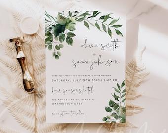 Greenery Wedding Invitation Template, Greenery Wedding Invitation Cards, Printable Invite Cards, Editable Text, Instant Download Templett G5