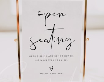 Open Seating Sign Template, Minimalist Wedding Signs, Printable Sign, Baby Shower Signs, Bridal Shower Signs, Instant Download, Templett, M8