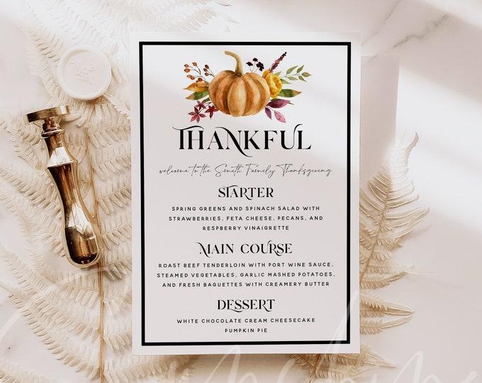 Thanksgiving Menu Template, Thanksgiving Dinner Menu, Pumpkin Party Menu, Printable Thanksgiving Menu, Thankful Menu, Instant Download, TG5