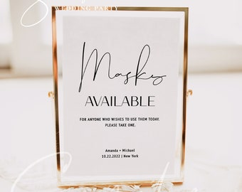 Masks Available Sign, Printable COVID Sign, Wedding COVID Sign, Minimalist Sign, Modern Wedding, Editable Sign, Instant Download Templett M4