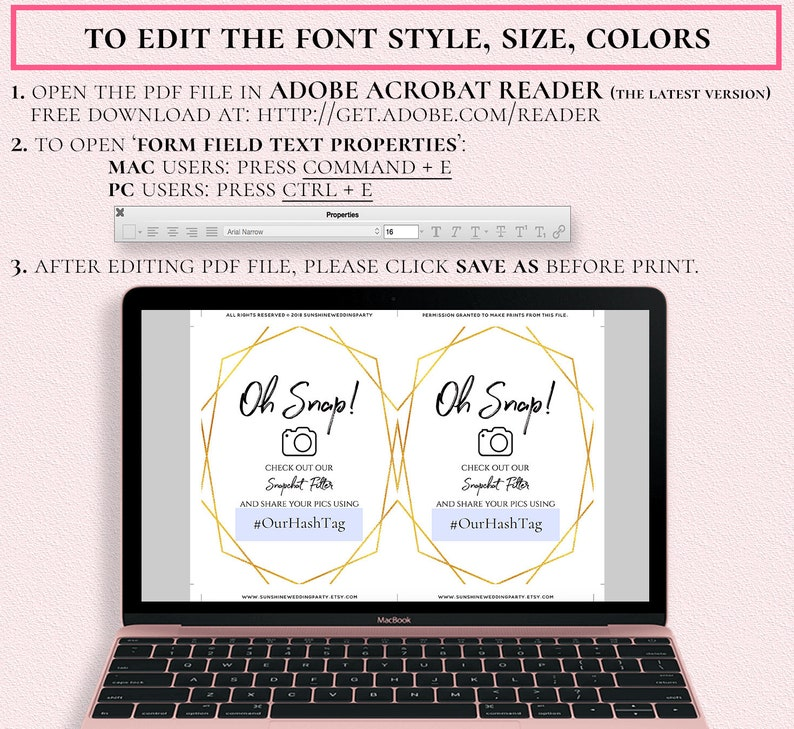 Geometric Gold Oh Snap Snapchat Geofilter Sign Template Wedding Party Snap  Chat Filter Printable 5x7 8x10 Editable PDF File Digital Download