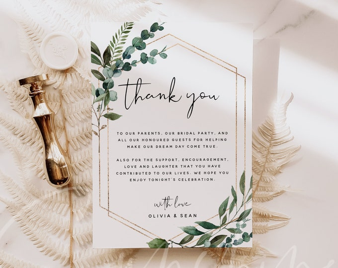 Thank You Cards Template, Greenery Wedding Thank You Letter, Editable Thank You Notes, Printable Wedding Thank You Card, Instant Download G5