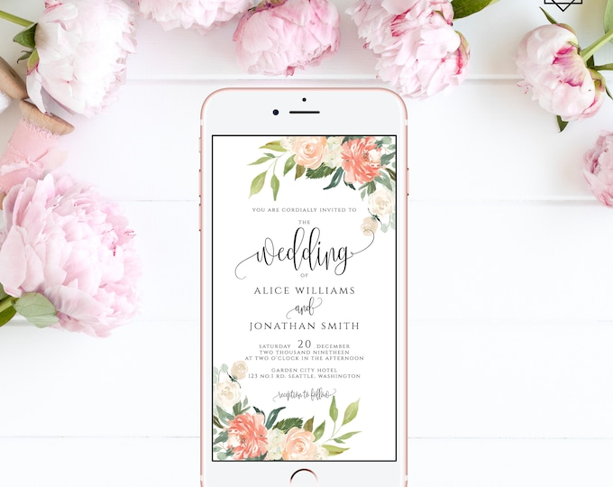 Electronic Wedding Invitation Digital Invitation Wedding iPhone Invitation sms Invitation Editable Invitation Instant Download Templett F1