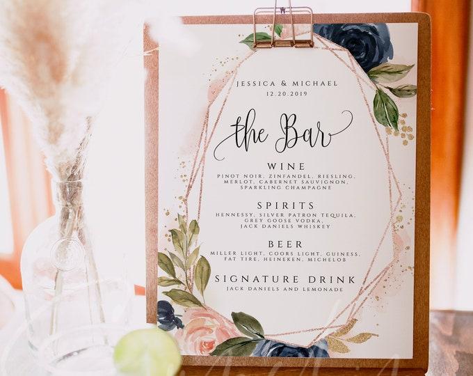 Navy & Blush Wedding Bar Menu Template Printable Bar Menu Editable Bar Menu Wedding Bar Menu Template Bar Menu Templett Instant Download F6