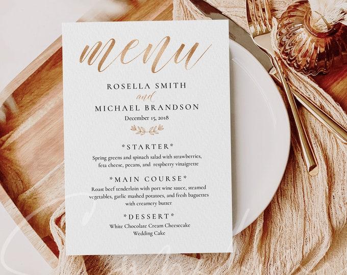 Gold Foil Wedding Menu Template Printable Fashion Script Font Wedding Menu Template 5x7 Online Editable Instant Download Digital Download