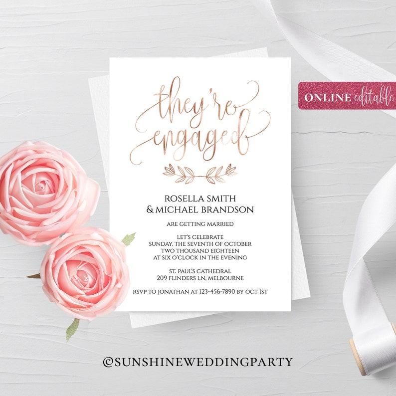 Rose Gold Foil Engagement Invitation Template Online Editable Digital Instant Download