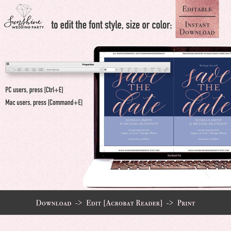 Navy Blue Rose Gold save THE date card Template 5x7 Printable Wedding save the date card Editable PDF Digital Download Instant Download