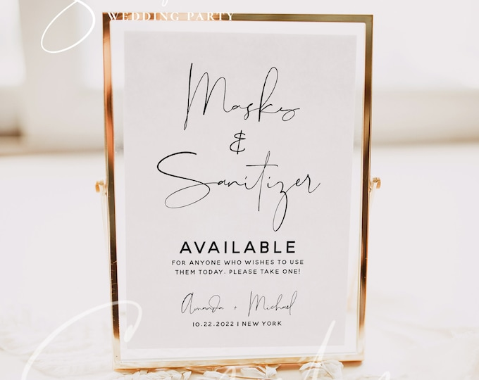 Masks and Sanitizer Available Sign Template, Sanitizer Sign Template, Printable Covid Wedding Sign, Editable Covid Wedding Sign Download, M4