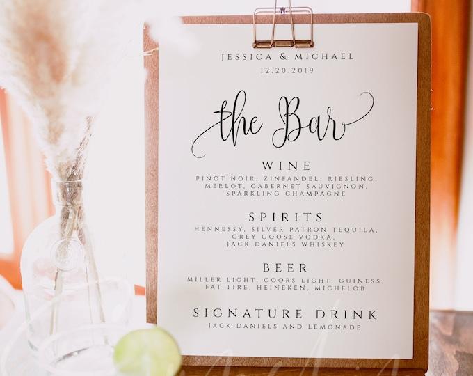 Bar Menu Sign Printable Bar Menu Sign Template Wedding Bar Menu Sign Drinks Menu Sign DIY Wedding Drinks Menu Bar Menu Template Editable R1