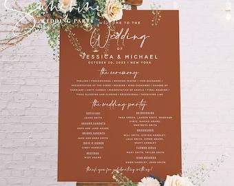 Terracotta Wedding Program Poster, Wedding Program Board Template Download, Editable Wedding Poster, Printable Ceremony Program, Templett T1