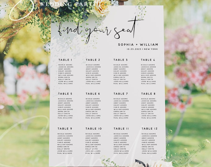 Wedding Seating Chart Sign Template, Minimalist Seating Board, Modern Seating Chart Cards, Editable Template, Instant Download, Templett, M8