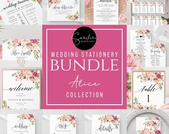 Wedding Bundle Templates, Marsala Floral, Wedding Stationery Template Bundle, Printable, 100% Editable Text, Templett, Instant Download, F4
