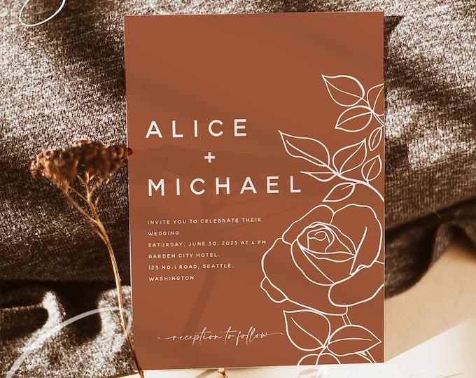 Terracotta Wedding Invitation Template, Floral Printable Terracotta Wedding Invite, Modern Editable Terracotta Template, Instant Templett T2