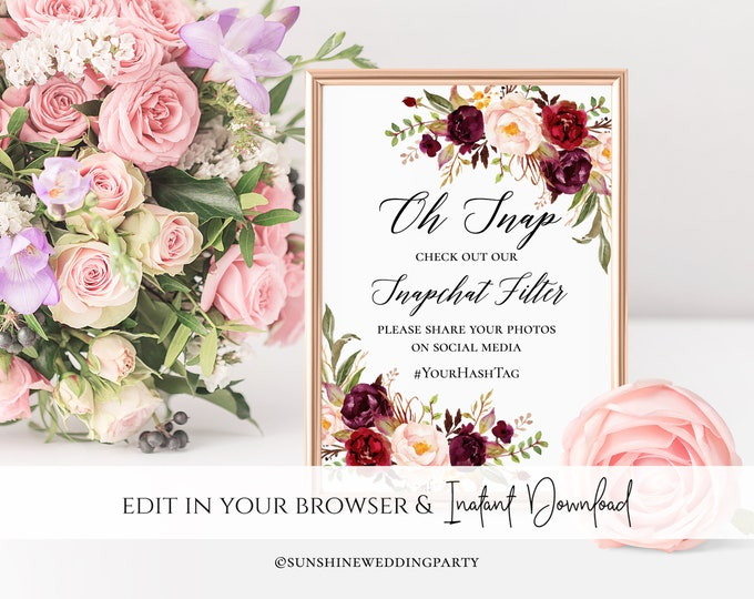 Marsala Red Floral Wedding Snapchat Sign Red Wedding Snapchat Geofilter Sign Wedding Snapchat Wedding Geofilter Wedding Sign Red Floral Sign