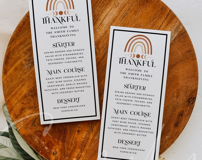 Thanksgiving Menu Card Template, Modern Thankful Menu Printable, Terracotta Rainbow Thanksgiving Dinner Menu, Instant Download, Templett TG3