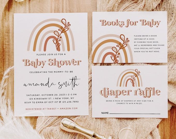 Rainbow Baby Shower Invitation Kit Template, Bohemian Rainbow Baby Shower Suite, Printable Baby Shower Invitation Set, Instant Download, B1