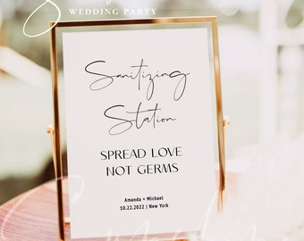 Sanitizing Station Sign, Covid Wedding Sign, Sanitizer Station, Hand Sanitizer Sign Printable Sign Wedding Sign Instant Download Templett M4