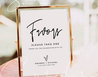 Favors Sign Template, Modern Personalized Wedding Favors Sign, Favors Sign Template, Minimalist Wedding Sign, Instant Download, Templett, M7