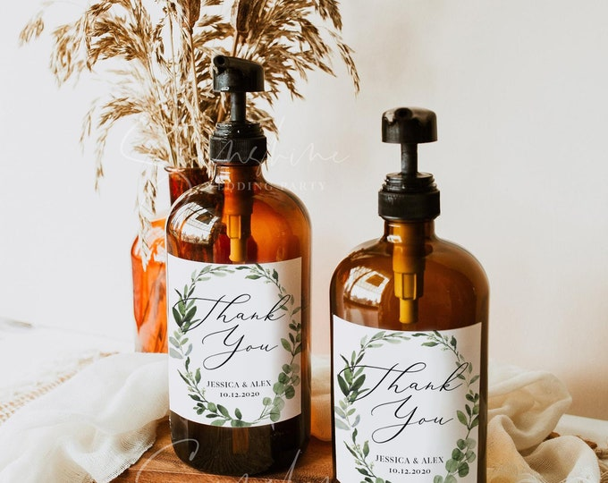 Wedding Hand Sanitizer Label Template, Eucalyptus Greenery Label, Printable Hand Sanitizer Favor, Editable, Instant Download, Templett, G3