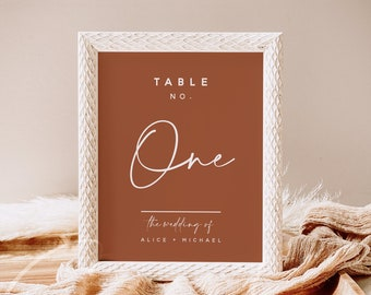 Terracotta Wedding Table Number Sign Template, Printable Table Numbers, Calligraphy Table Number Signs Editable Instant Download Templett T1
