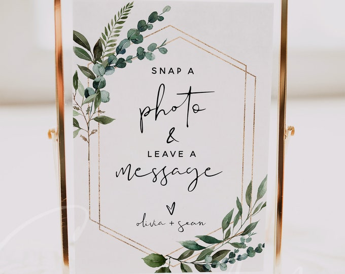 Snap a Photo Leave a Message Sign Template, Greenery Wedding Printable Signs, Editable Template, Wedding Signs, Instant Download Templett G5
