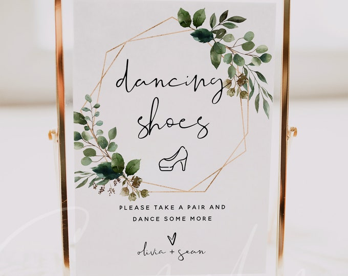 Dancing Shoes Sign Template, Greenery Wedding Signs, Printable Dancing Shoes Sign, Editable Text, Wedding Sign, Instant Download Templett G5