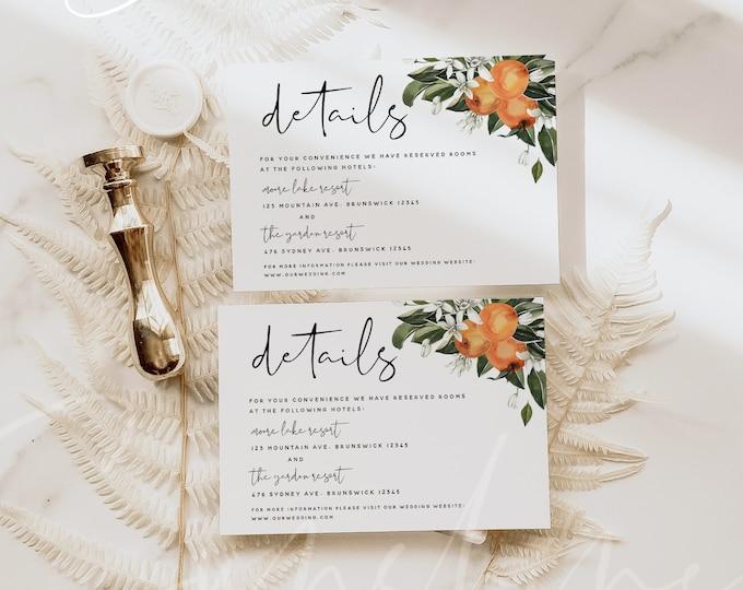 Citrus Wedding Details Card Template, Orange Wedding Accommodations Cards, Botanical Wedding Details Cards, Instant Download, Templett, C2