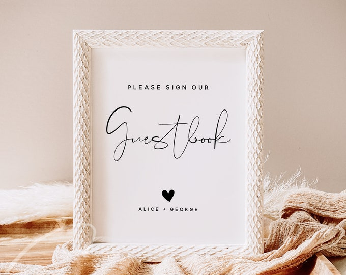 Please Sign Our Guestbook Sign Printable, Sign Our Guestbook, Wedding Guestbook Sign Instant, Modern Minimalist Wedding Signage DIY, M4