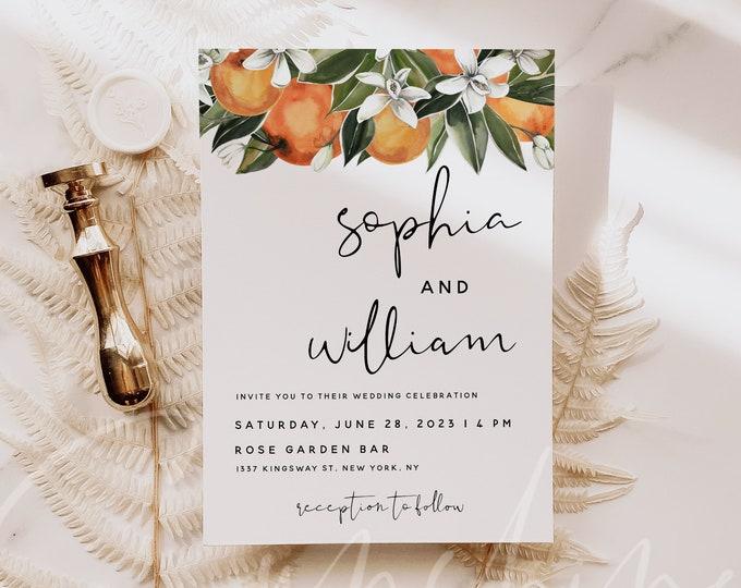 Citrus Wedding Invitation Template, Orange Wedding Invitation Cards, Botanical Wedding Invitation Template, Instant Download Templett, C2