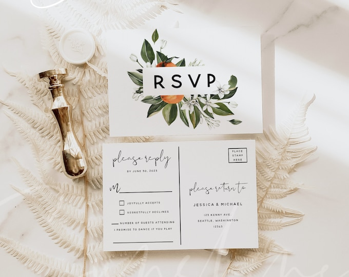 Citrus Wedding Invitation PSVP Postcard Template, Orange Wedding Postcard RSVP, Printable RSVP Kindly Reply, Instant Download, Templett, C2