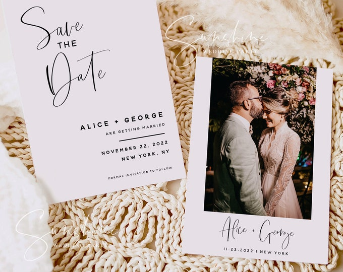 Modern Minimalist Photo Save the Date Template, Wedding Save the Date Postcard, Electronic Save the Date, Save the Date Instant Download, M5