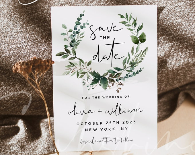 Greenery Save the Date Template, Wedding Save the Dates, Printable Save the Date Cards, Editable Template, Instant Download, Templett, G5