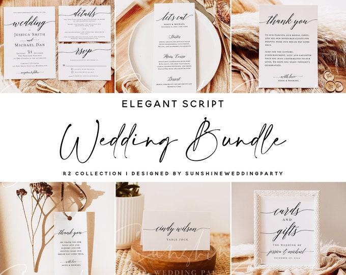 Wedding Bundle, Modern Wedding Templates, Minimalist Elegant Script, Rustic Invitation Suite, Editable Text, Instant Download, Templett, R2