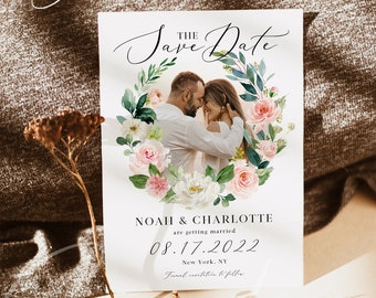 Photo Save the Date Template, Blush White Floral Wedding, Engagement Photo Save the Date, DIY Printable, Editable DIY, DIY Save the Date, F5
