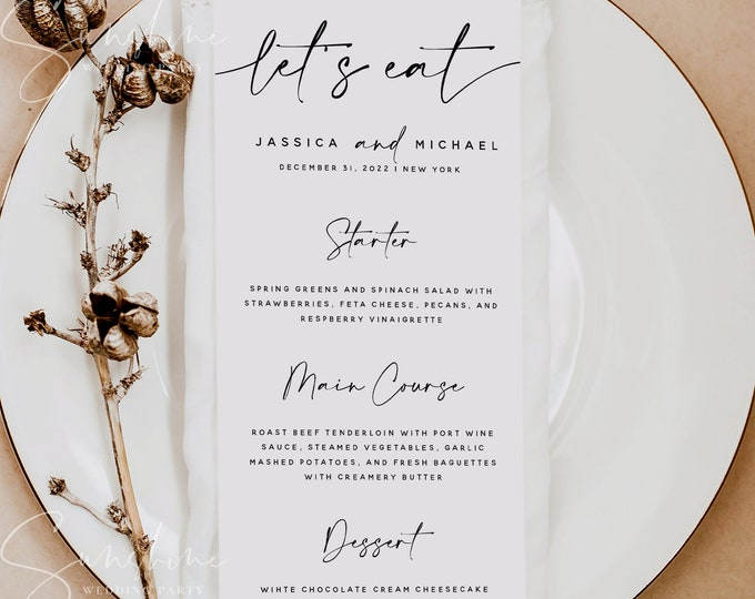 Modern Wedding Menu Template, Minimalist Wedding Dinner Menu, Printable, Digital Download, Reception Dinner Menu, 100% Editable, DIY, M3