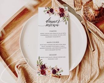 Printable Wedding Menu Marsala menu floral menu Menu template Marsala Floral Wedding Menu Cards Menu Cards for Wedding 4x9 editable Templett