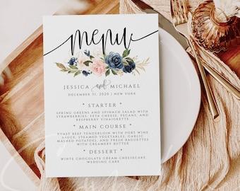 Navy & Blush Wedding Menu Template Printable Menu Editable Menu Wedding Menu Template Menu Template Floral Menu Templett Instant Download F6